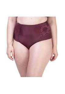 Calcinha Hot Pant Lateral Dupla Renda Vinho - 534.383 Marcyn Lingerie Alta Vinho