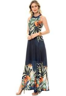 Vestido Bisô Longo Calopsita Feminino - Feminino-Azul