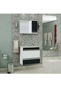 Gabinete Para Banheiro Com Cuba E Espelheira Grécia Mgm Móveis Branco/Preto