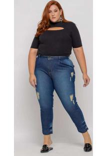 Calça Baggy Almaria Plus Size Shyros Jeans Azul