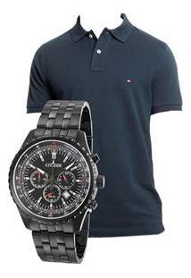 Relógio Masculino Analógico Citizen Tz30811P Cronógrafo – Preto + Camisa Polo Masculina Slim Fit G - Tommy Hilfiger