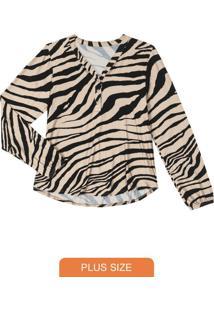 Camisa Feminina Animal Print Bege