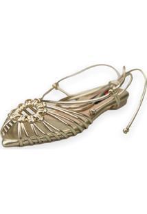 Sandalia Love Shoes Rasteira Bico Folha Amarração Tirinhas Metalizado Dourado
