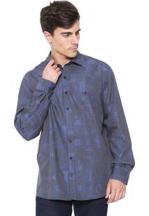 Camisa Dudalina Reta Night Cinza/Azul