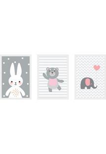 Conjunto Com 3 Quadros Decorativos Urso Pink Ii Cinza E Branco