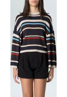 Blusa Fem Mix Stripes-Multicolorido - P