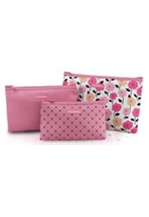 Kit De Necessaire De 3 Peças (Pink Lover) Jacki Design - Rosa