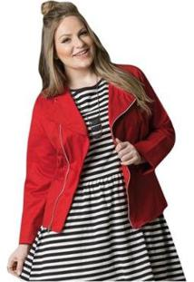 Jaqueta Beline Plus Size Com Zíper Vermelha Quintess - Feminino-Vermelho