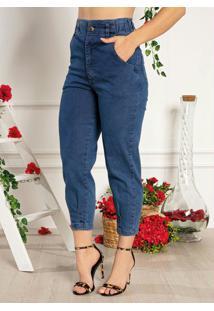 Calça Jeans Clochard Com Pregas E Bolsos Sawary