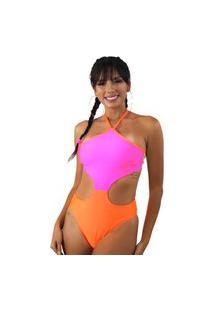 Body Com Detalhe Aberto Na Cintura Laranja E Rosa Neon Multicolorido
