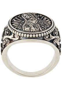 Nove25 Santa Muerte Oval Ring - Prateado