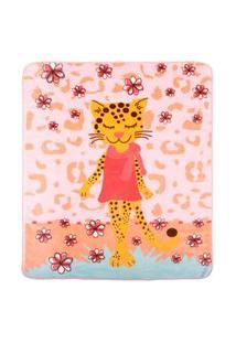 Cobertor Fleece Microfibra 90 Cm X 1,10 M Tigresa Rosa Baby Joy