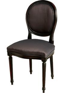 Cadeira Medalhão Preta De Madeira Sem Braço Com Assento E Encosto De Seda