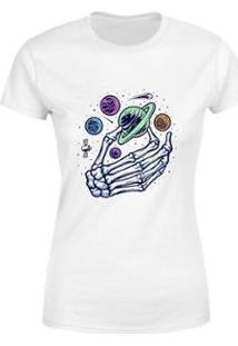 Blusa Blusinha Camiseta Mão Caveira Planetas Goup Supply Feminina - Feminino