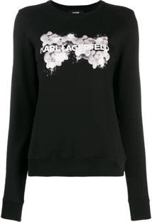 Karl Lagerfeld Suéter 'Orchid' Com Logo - Preto