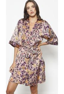Robe Floral Com Recorte- Ros㪠& Roxo Escurofruit De La Passion
