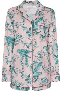 Desmond & Dempsey Pijama De Algodão Com Estampa Bromley Parrot - Rosa