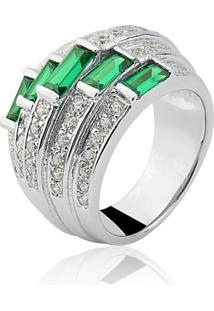Anel Le Diamond Retangular Verde Esmeralda