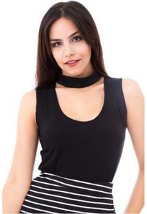 Blusa Moda Vício Regata Gola Alta Com Decote Feminino - Feminino-Preto