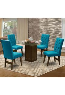 Mesa Para Sala De Jantar Saint Louis Com 4 Cadeiras – Dobuê Movelaria - Castanho / Turquesa