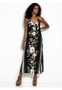 Vestido Cropped Floral Preto