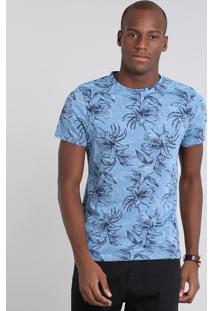 Camiseta Masculina Estampada Folhagem Manga Curta Gola Careca Azul