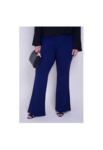 Calça Flare Plus Size Azul Marinho Calça Flare Plus Size Azul Marinho M Kaue Plus Size
