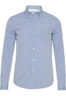 Camisa Masculina Mini Quadriculado - Azul
