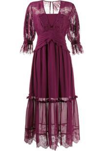 Three Floor Vestido Desire Com Recortes De Renda - Roxo