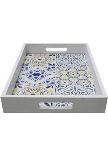 Bandeja Para Aparador Azulejos- Branca & Azul- 5X37Xkapos