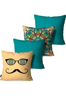 Kit Com 4 Capas Para Almofadas Pump Up Decorativas Óculos E Bigode Estilo Vintage 45X45Cm