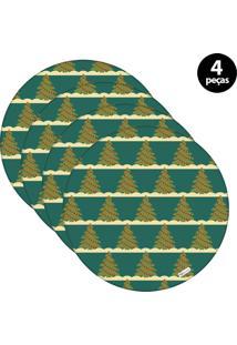 Capa Para Sousplat Mdecore Natal Arvores De Natal Verde 4Pçs