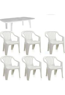 Conjunto Mesa Retangular E 6 Cadeiras Poltrona Antares