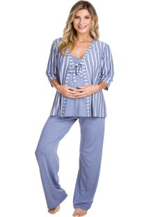 Pijama Gestante Inspirate Triplex Jeans Multicolorido