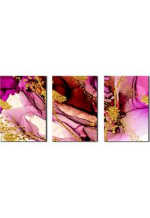 Quadro Decorativo Abstrato Marmorizado Rose Gold