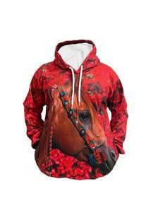 Blusa Moletom Canguru Feminino Full 3D Cavalo R\ 014 Vermelho