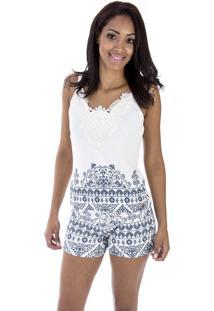 Pijama Curto Inspirate Azulejo Português Branco