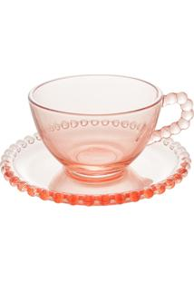 Conjunto 4 Xícaras Chá Cristal Com Pires Pearl Rosa 180Ml
