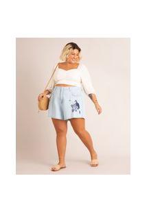 Short Jeans Mom Plus Size Com Bordado Cintura Super Alta Azul Claro