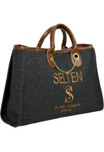 Bolsa Selten Handbag Grande Alça Fixa Botão Magnético Feminina - Feminino-Cinza