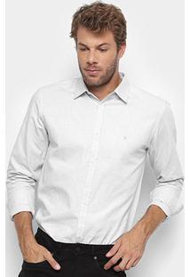 Camisa Social Manga Longa Foxton Oxford Masculina - Masculino-Cinza