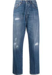 Nine In The Morning Calça Jeans Pantalona Cintura Alta - Azul