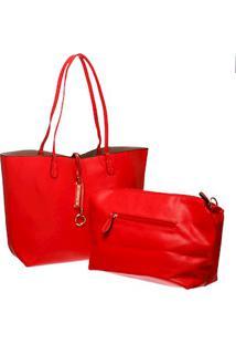 Bolsa Tote Maxi Vermelha Com Necessaire Interna E Alça Fixa E Removível