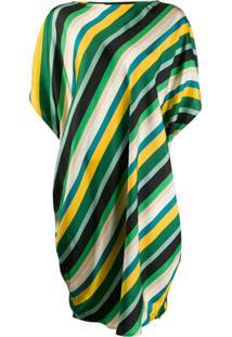 Gianluca Capannolo Silk Striped Oversized Dress - Verde