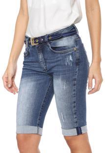 Bermuda Jeans Lança Perfume Slim Estonada Azul
