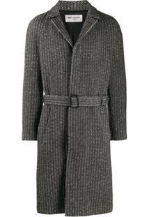 Saint Laurent Sobretudo De Lã Com Cinto - Preto