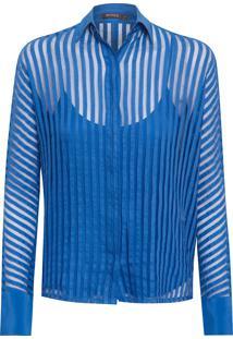 Camisa Feminina Renda Skin - Azul