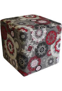 Puff Quadrado Decorativo Tecido Floral Vermelho - Lyam Decor