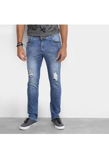 Calça Jeans Skinny Local Amassados 3D Destroyed Masculina - Masculino-Azul