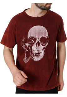 Camiseta Manga Curta No Stress Bordô